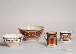 Four Mocha-decorated Ceramic Tableware Items