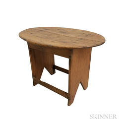 Country Pine Oval-top Tea Table