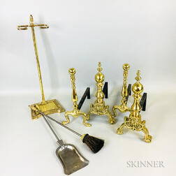 Two Pairs of Brass Andirons, a Brush, a Shovel, and a Fireplace Tool Stand.