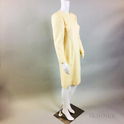 Vintage Carolina Herrera Cream Wool Dress