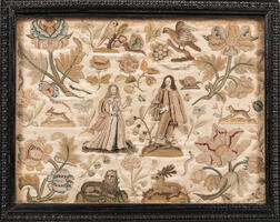 Stumpwork Picture of Charles II and Catherine of Braganza