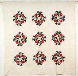 Pieced and Appliqued Cotton President's Wreath Friendship Quilt