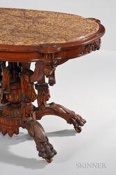 Egyptian Revival Carved Center Table