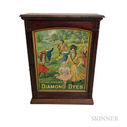 "Mahogany and Lithographed Tin ""Diamond Dyes"" Spool Cabinet"