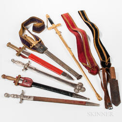 Six Odd Fellows Swords, Three Sword Belts, and a Dagger