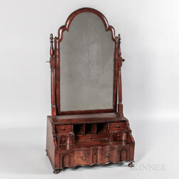 Queen Anne Walnut Veneer Dressing Mirror