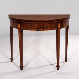 Federal Inlaid Mahogany Demilune Card Table