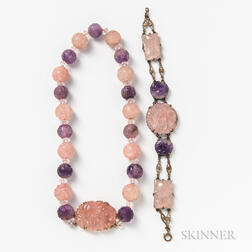 Carved Amethyst and Rose Quartz Necklace and Bracelet