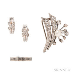 Platinum, Diamond, and Pearl Brooch, Platinum and Diamond Eternity Band, and a Pair of 14kt White Gold and Diamond Earrings