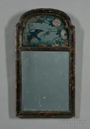 Queen Anne Japanned and Reverse-painted Looking Glass