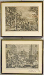 William Hogarth (British, 1697-1764)      Four Prints of an Election: An Election Entertainment, Canvassing for Votes, The Polling