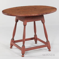 Red-painted Turned Oval-top Tea Table