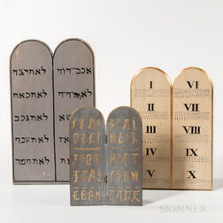Three Paint-decorated Odd Fellows Ten Commandments Tablets