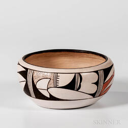Contemporary Hopi Polychrome Pottery Bowl