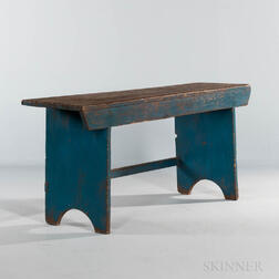 Blue-painted Pine Bench