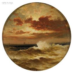 Edward Moran (American, 1829-1901)      Seascape with Distant Boats