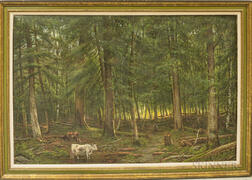 Continental School, 19th/20th Century      Forest with Herder and Cattle