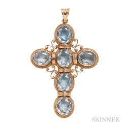 14kt Gold and Synthetic Blue Spinel Cross