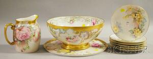 Nine Pieces of Hand-painted Floral-decorated Mostly Limoges Porcelain Tableware