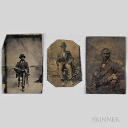 Three Tintypes Depicting Seated African American Men.