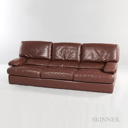 Roche Bobois Brown Leather Sofa