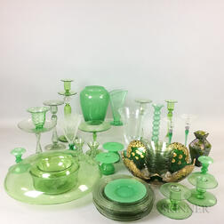 Approximately Forty-three Pieces of Green Art Glass