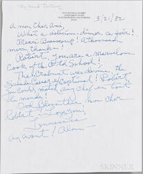 Tennessee Williams (1911-1983) Archive of Letters, early 1980s.