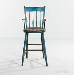 Blue-painted Bamboo-turned Windsor High Chair