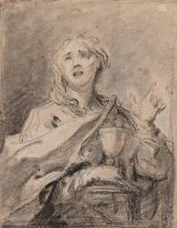 Italian School, 17th Century      Saint Barbara Holding a Chalice and Pointing to Heaven