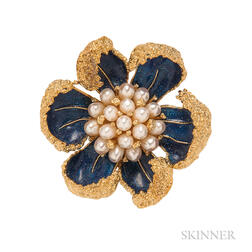18kt Gold, Enamel, and Cultured Pearl Flower Brooch