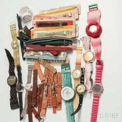 Large Group of Swatch Watches and Bands
