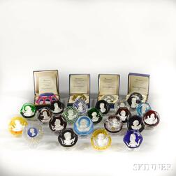 Twenty-four Baccarat Sulphide Glass Paperweights