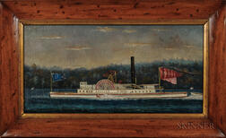 American School, Late 19th Century      Portrait of the Paddlewheel Steamer America