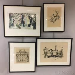 Norman Rockwell (American, 1894-1978) Four Artist-proof Prints: The Saturday People, Willie Takes a Step, View of Rome from my Hotel Wi