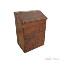 "Dayton Spice Mills Co. ""Jersey Coffee"" Red-painted and Stenciled Coffee Bin"