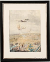 Watercolor Depicting a Dogfight Over a Town