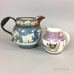 Two Wood and Caldwell Lustre-decorated Ceramic Make-do Jugs