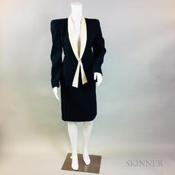 Vintage Carolina Herrera Navy Wool Suit