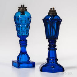 Two Cobalt Pressed Glass Sandwich Fluid Lamps