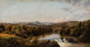 Attributed to Charles Day Hunt (American, 1840-1914)      Landscape with Figures at a Waterfall