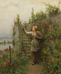 Daniel Ridgway Knight (American, 1839-1924)    In the Garden/A Young Woman with a Scythe