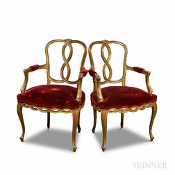 Pair of Louis XV-style Gilt and Velvet-upholstered Fauteuil