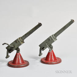 "Two Painted Cast Iron ""ANTI-AIRCRAFT"" Cap Toys"