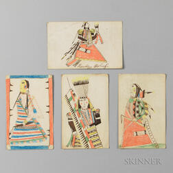 Four Colored Ink Drawings by Southern Cheyenne Ledger Book Artist Howling Wolf, Ho-na-nist-to (1849-1927)