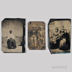 Three Tintypes Depicting Seated African Americans.