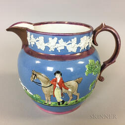 Wood and Caldwell Relief-molded Lustre-decorated Ceramic Hunt Jug