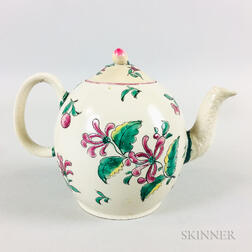 Staffordshire Salt-glazed and Enameled Ceramic Teapot