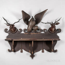 Large Deer and Eagle Carved and Painted Shelf
