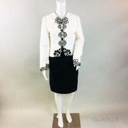 Mary McFadden Black and White Silk Suit