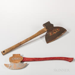 Two Painted Wood Odd Fellows Axes